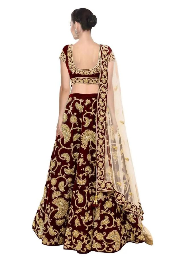 Stunning Maroon Color Machine Embroidered Wedding Wear Lehenga-341 Maroon A