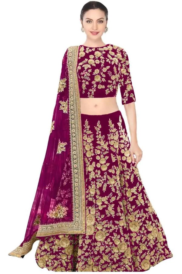 Regal Purple Color Velvet Embroidered Wedding wear Lehenga-359 PURPLE