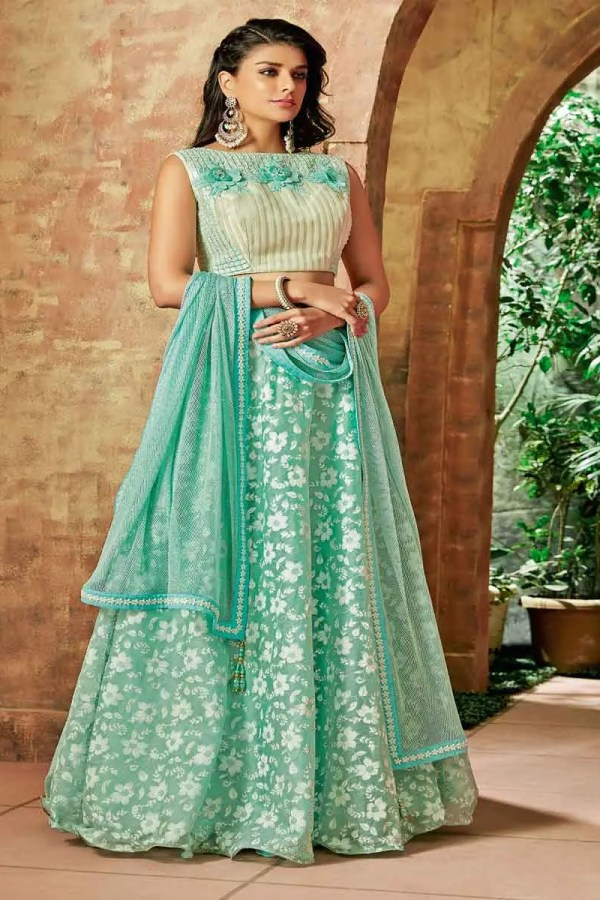 Sea Green Color Thread Embroidery Tissue Lehenga Choli-7715