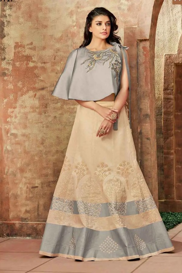 Stunning Cream Color Zari Embroidery Silk Lehenga Choli-7717