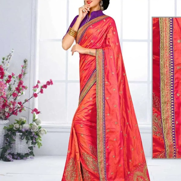 Stunning Orange Color Embroidery Work Two Tone Short Jacquard Silk Saree-4190-D