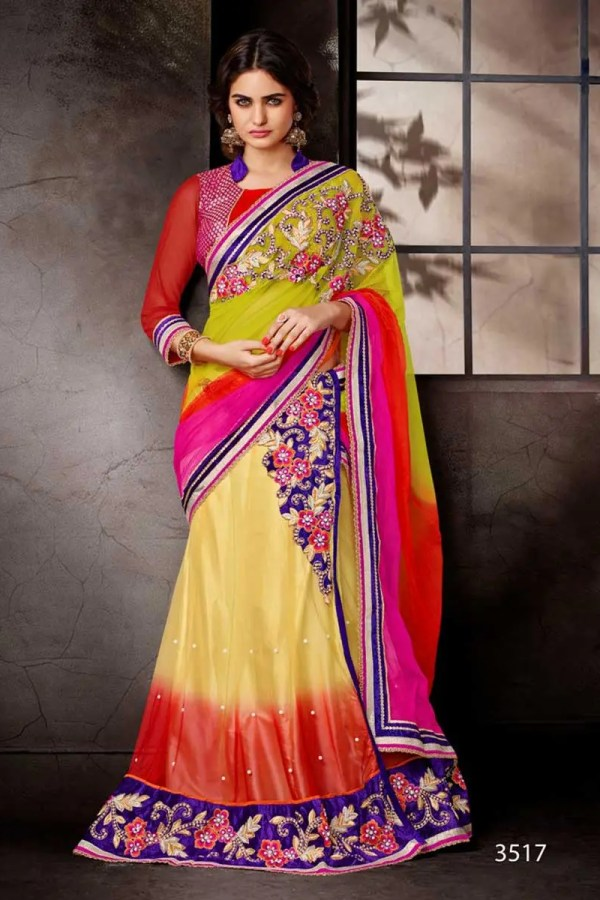 Red And Yellow Color Floral Design Net Lehenga Saree-3517