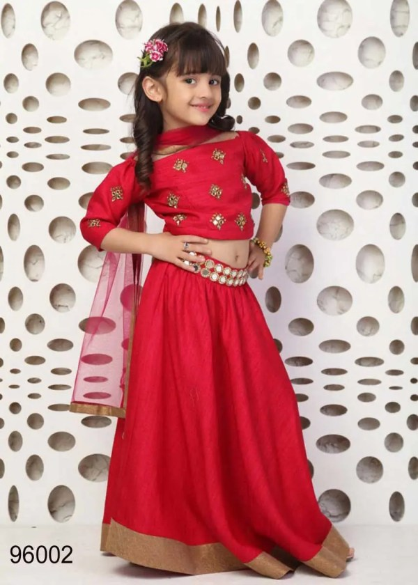 Red Color Hand Mirror Work Chennai Silk Kids Lehenga Choli-96002