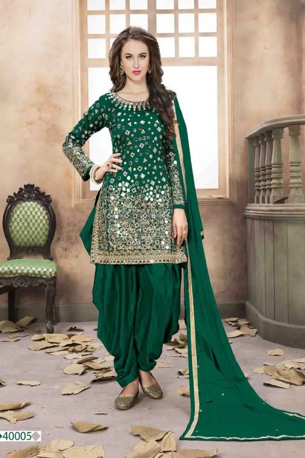 Elegant Green Color Mirror Work Taffeta Silk Punjabi Suit -40005