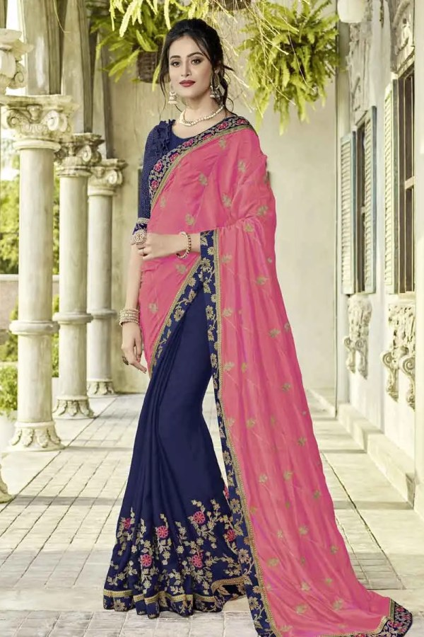 Pink And Violet Color Bright Georgette And Moss Chiffon Saree-40111