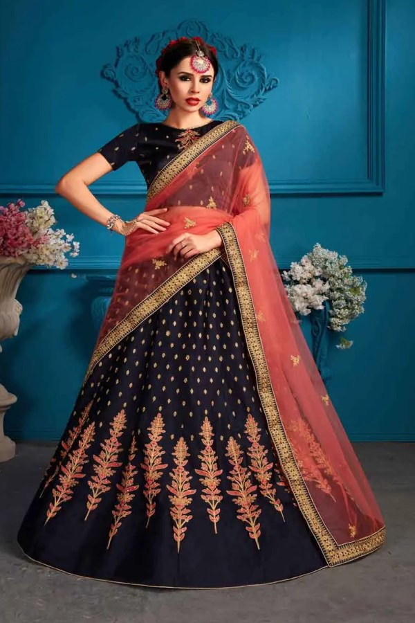 Navy Blue Color Satin Embroidery Lehenga Choli-1709