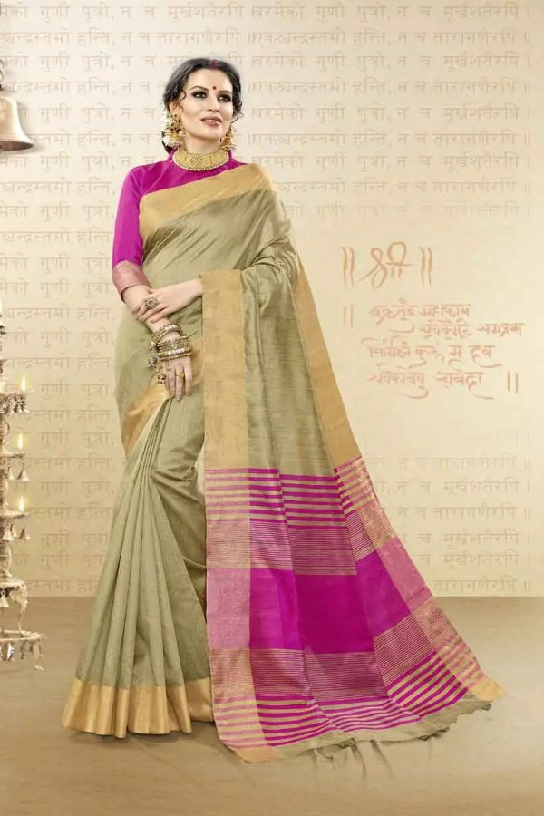 Beige Cotton Silk Saree For Festive Wear-1609