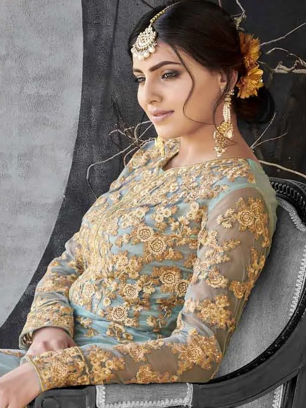 Grey Color Embroidery Anarkali Suit
