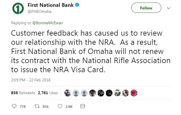 First National Bank of Omaha Tweet about cutting ties with the NRA