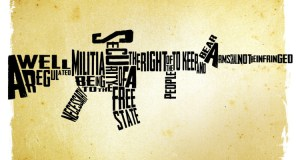 Drawing of a an AR-15 made up with the words of the Second Amendment.
