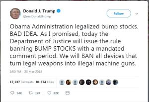 President Trump Tweet about bump stock ban.