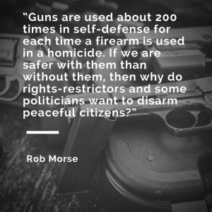 "Black and white meme that says, ""Guns are used about 200 times in self-defense for each time a firearm is used in a homicide. If we are safer with them than without them, then why do rights-restrictors and some politicians want to disarm peaceful citizens?"""