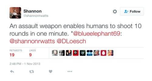 "Shannon Watts of Moms Demand Action Tweet saying ""An assault weapon enable humans to shoot 10 rounds in one minute."""