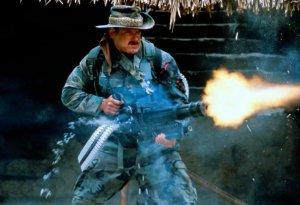 Blain, played by Jesse Ventura lets his minigun rip in the movie Predator