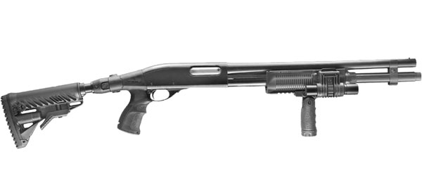This Remington 870 shotgun is equipped with FAB DEFENSE accessories that transform it into a more easily controlled, higher-performance modern tactical weapon.