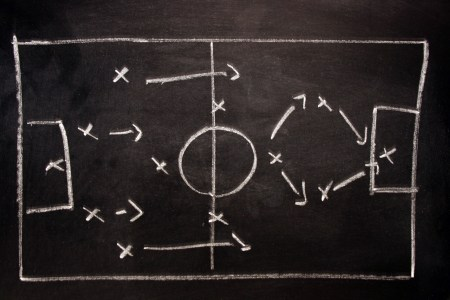 Soccer tactics on a blackboard