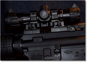 """The UTG DS3068 6.4-Inch ITA Red/Green Dot Sight  mounted on the WW """"SRC"""" via two UTG Low Profile Riser Mount with 3 slots"""