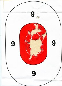 100 Rounds, 230-grain FMJ, 10-yards, offhand from Modified Weaver. First shot was high To Get My Bearings - Ninety-Nine Subsequent Shots Were Not
