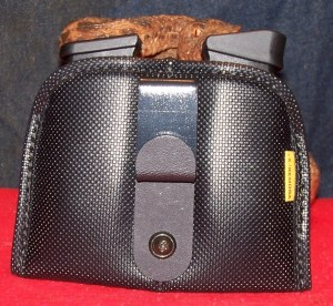 """Frankenmora"" Shown with J-clip Adapter for Secure IWB Use with. Spare Glock G43 Magazines"