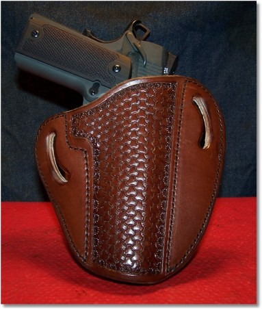 The Springfield 1911 Loaded Looking Handsome in an OWB Holster by Leather Creek Holsters