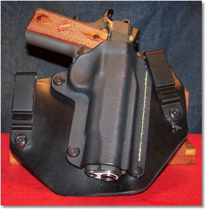"""The Springfield 1911 Loaded In the SHTF Gear IWB Holster.  Note the """"Peek-a-Boo"""" at the bottom But Everything is Protected"""