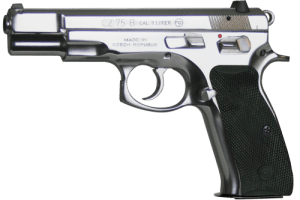 High-Polish Stainless Steel Version of the CZ75B - Note the Rubber Grip Panels