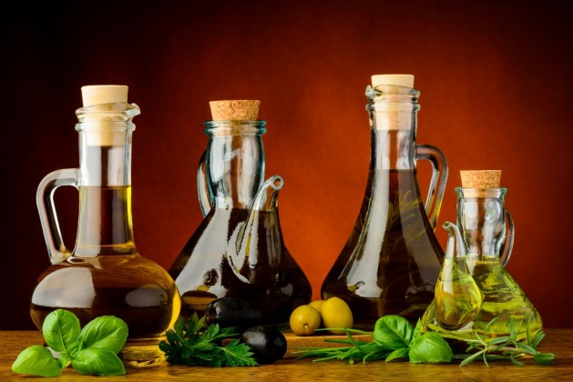 different bottles of infused olive oil