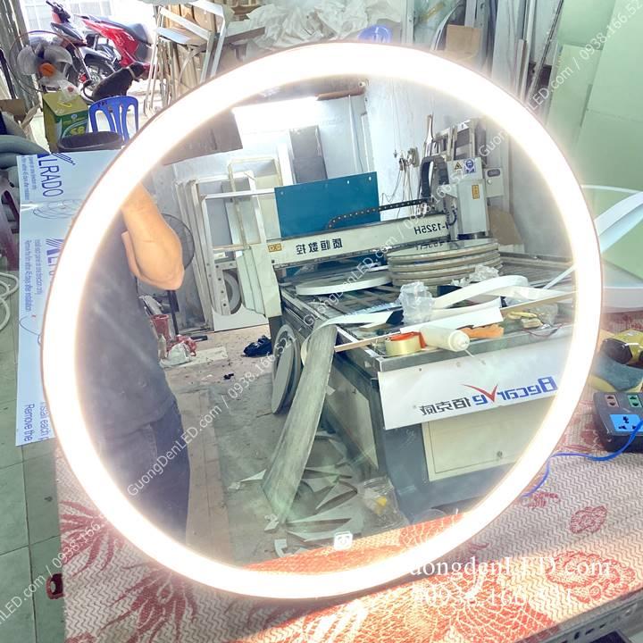 Gương tròn đèn led dây da