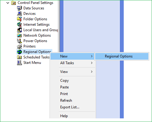 Regional Options User configuration Group policy preference