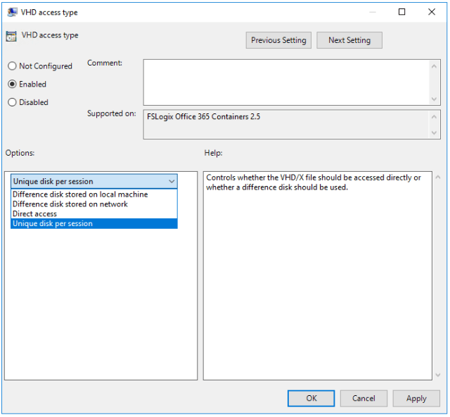 FSLogix VHD Access Type setting