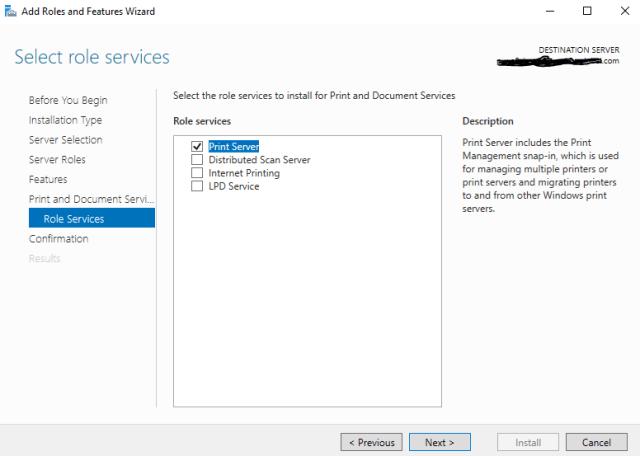 Print Server Migration to Microsoft Azure - Print Server Role 2