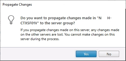 Propagate Changes Yes