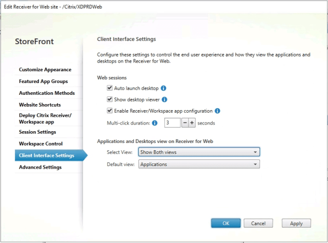 Receiver for Web Client Interface Settings