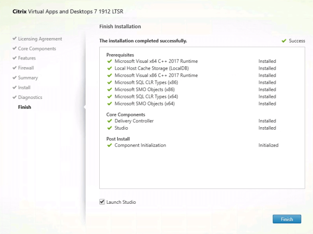 Citrix Delivery Controller Installation Finished