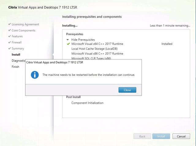 Citrix Delivery Controller Installation Reboot