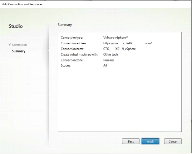 Connection to VMware vSphere is established