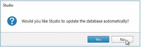 Would you like Studio to update the database automatically