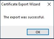 vSphere Self Signed certificate export was successful
