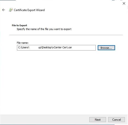 vSphere Self Signed certificate file name