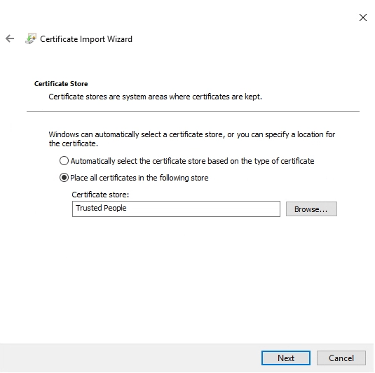 vSphere Self Signed certificate install to Trusted People store