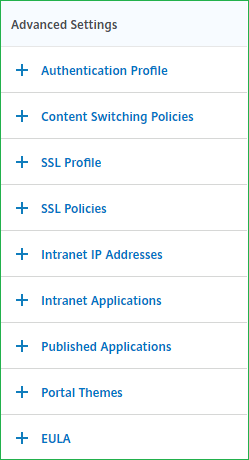 NetScaler Gateway Virtual Server Advanced Settings