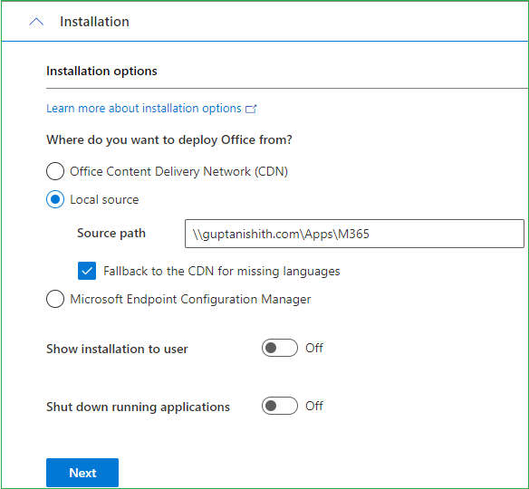 Local Source - Office 365 Installation options