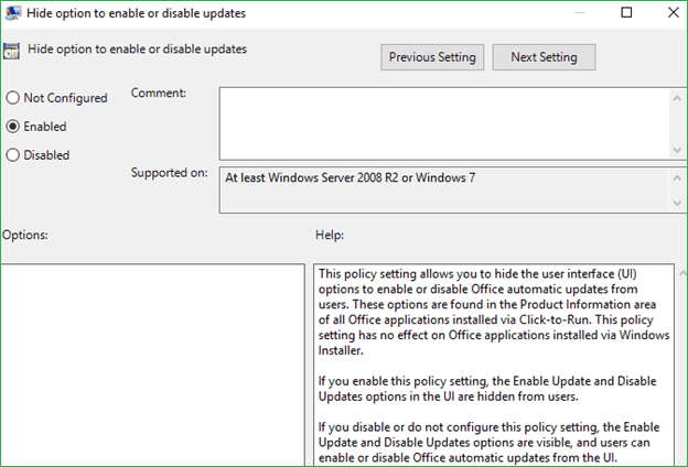 Hide option to enable or disable updates Group policy