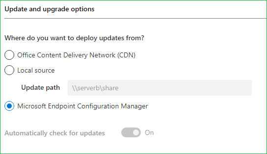 Office 365 Update and Upgrade options