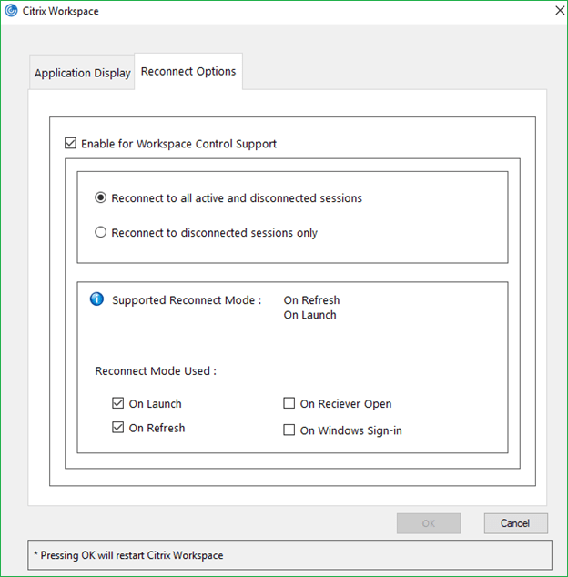 Citrix Workspace App Reconnect options in Advanced preferences
