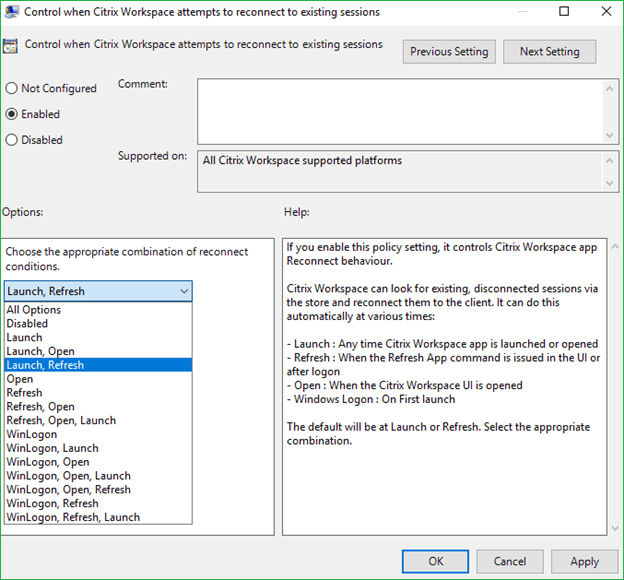 Citrix Workspace Control Group policy setting