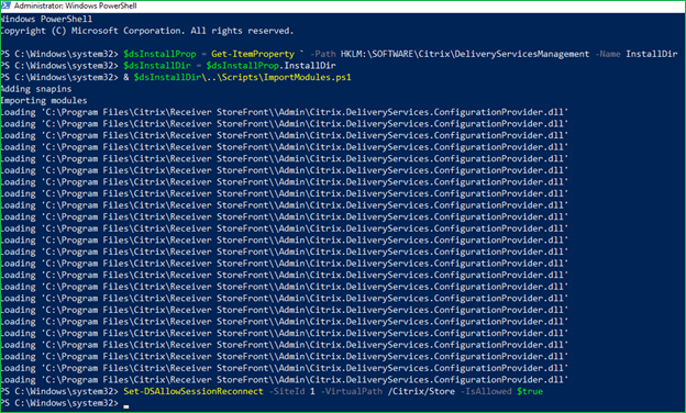 Disable Citrix Workspace Control Reconnect using PowerShell