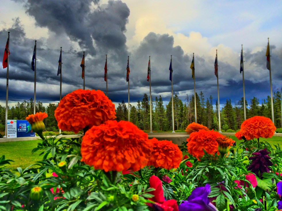 Flowers and flags welcome everyone outside Whitehorse's main recreational facility called Canada Games Centre: Photo: Gurdeep Pandher