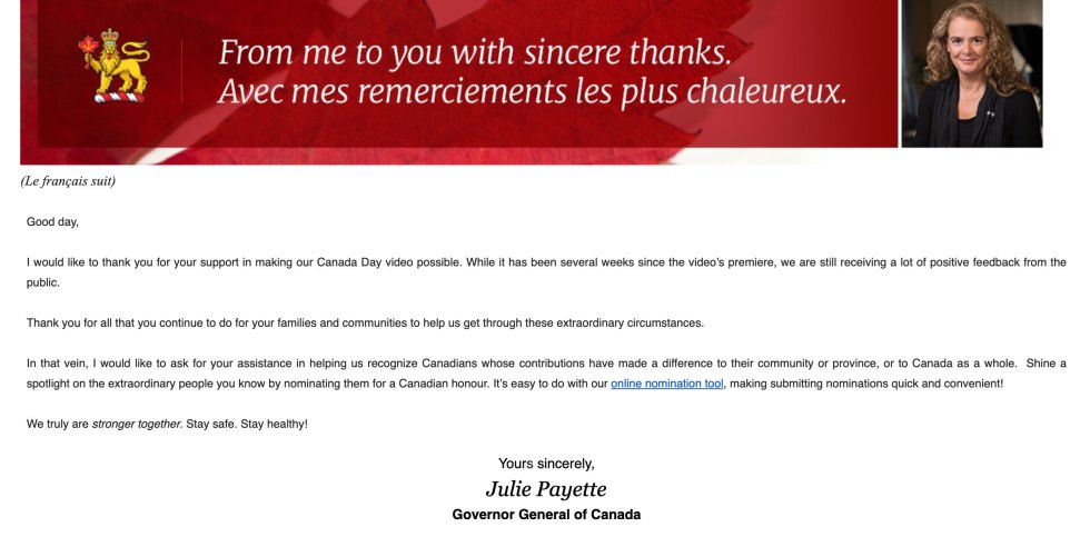 Message from the Governor-General of Canada about my work