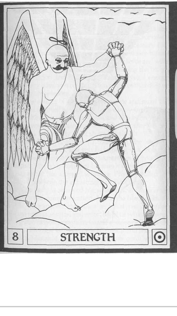 Major Arcana Tarot card representing Strength. Card features Gurdjieff as an angel wrestling a mechanical man or robot.